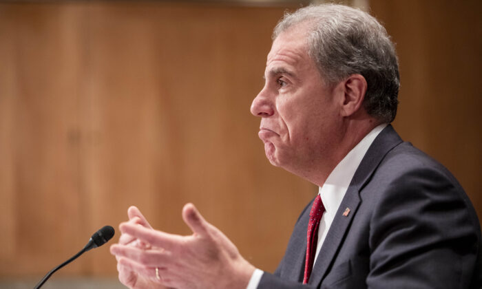 Department of Justice Inspector General Michael Horowitz testifies before the Senate Committee on Homeland Security and Governmental Affairs during a hearing at the Capitol in Washington on Dec. 18, 2019.  Samuel Corum/Getty Images