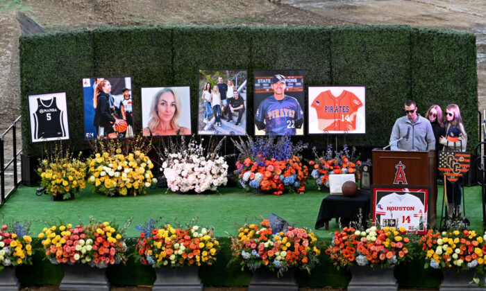 A memorial service honors helicopter-crash victims John, Keri, and Alyssa Altobelli at Angel Stadium in Anaheim, Calif., on Feb. 10, 2020. (Jayne Kamin-Oncea/Getty Images)