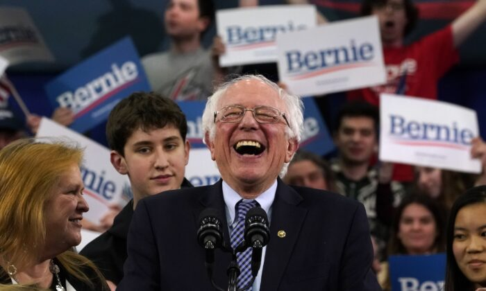 Democratic presidential hopeful Vermont Senator Bernie Sanders speaks at a primary night event at the SNHU Field House in Manchester, N.H., on Feb. 11, 2020.  Timothy A. Clary/AFP via Getty Images