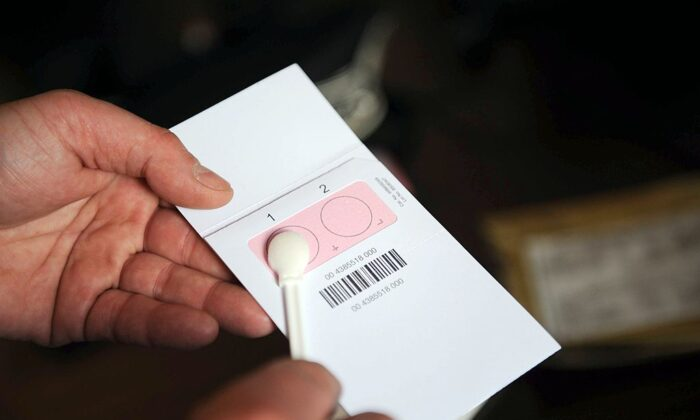A file photo of a DNA kit used for investigating rapes, shown during a press conference at La Rochelle tribunal in France, on April 14, 2014. (Xavier Leoty/AFP via Getty Images)