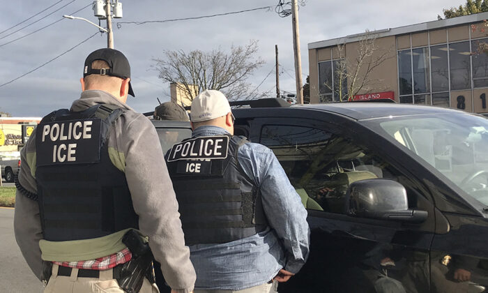 ICE agents apprehend individuals with prior criminal convictions ranging from sexual abuse to rape, in Long Island, N.Y., on Nov. 4, 2019. (ICE).