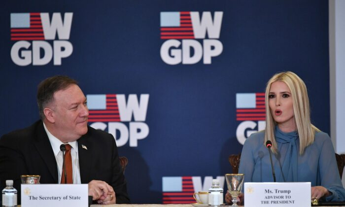 US Secretary of State Mike Pompeo and Advisor to the President Ivanka Trump host an event celebrating the one-year anniversary of the White House's Womens Global Development and Prosperity (W-GDP) Initiative in the Benjamin Franklin Room of the Department of State in Washington, DC on February 12, 2020.  (MANDEL NGAN/AFP via Getty Images)