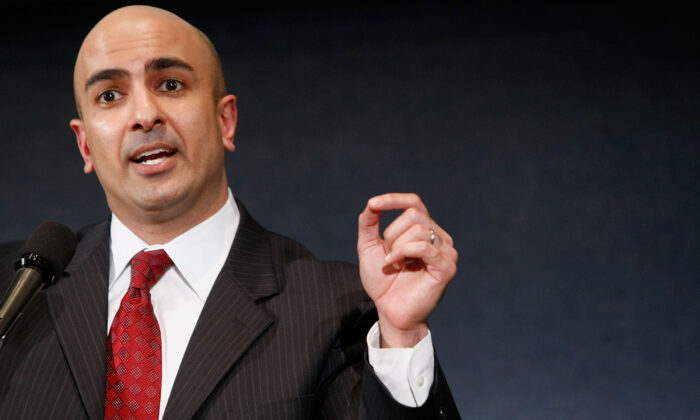 Minneapolis Federal Reserve president Neel Kashkari, who at the time served as Interim Assistant Secretary for Financial Stability, speaks at the National Press Club in Washington, on Dec. 8, 2008. (Chip Somodevilla/Getty Images)