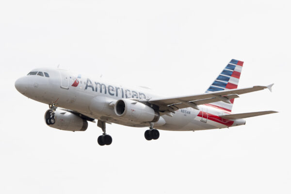 An Airbus 319 operated by American Airlines