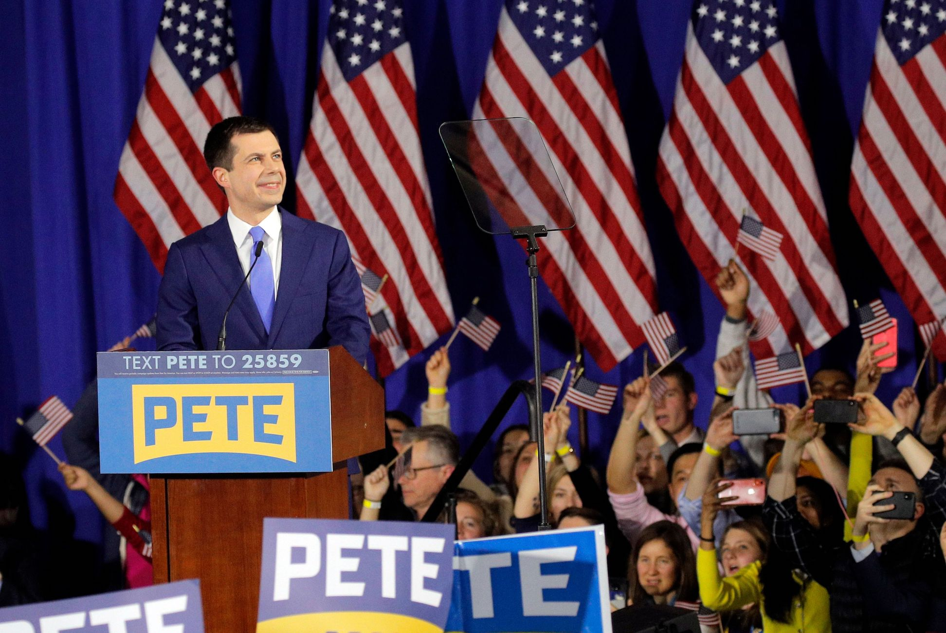 Democratic U.S. presidential candidate and former South Bend Mayor Pete Buttigieg speaks at his New Hampshire primary night rally in Nashua, N.H., U.S.