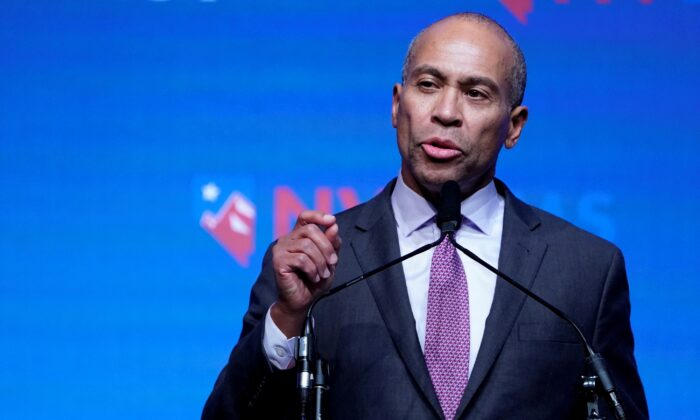 Deval Patrick appears on stage at a First in the West Event at the Bellagio Hotel in Las Vegas, Nevada on Nov. 17, 2019. (Carlo Allegri/Reuters)