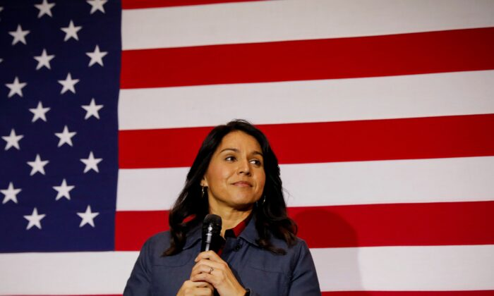 Democratic presidential candidate Rep. Tulsi Gabbard (D-Hawaii) speaks during a campaign event in Lebanon, N.H. on Feb. 6, 2020. (Brendan McDermid/Reuters)