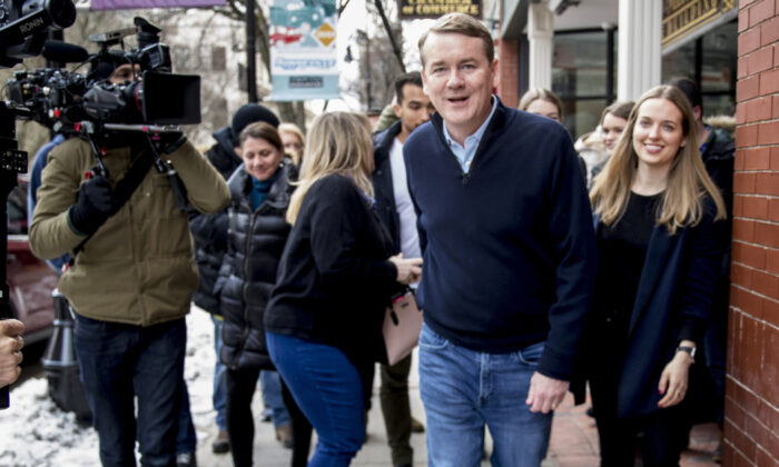 Democratic presidential candidate Sen. Michael Bennet (D-Colo.) arrives for a campaign stop at the Spotlight Room at the Palace on Feb. 8, 2020, in Manchester, N.H. (Andrew Harnik/AP)