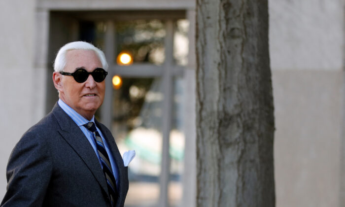 Roger Stone, former campaign adviser to President Donald Trump, arrives for the continuation of his criminal trial on charges of lying to Congress, obstructing justice and witness tampering at U.S. District Court in Washington on Nov. 13, 2019. (Yara Nardi/Reuters)