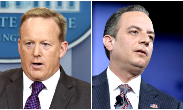 (L) Sean Spicer at the White House in Washington on July 17, 2017. (R) Reince Priebus during a discussion at the Conservative Political Action Conference at National Harbor, Md., on Feb. 23, 2017. (Olivier Douliery/Mike Theiler/AFP via Getty Images)