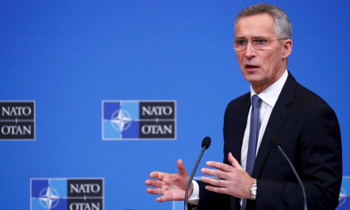 NATO Secretary General Jens Stoltenberg speaks at a news conference following a NATO defense ministers meeting at the Alliance headquarters in Brussels, Belgium February 12, 2020. (Francois Lenoir/Reuters)