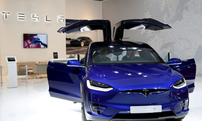 A Tesla Model X electric car is seen at Brussels Motor Show, Belgium, on Jan. 9, 2020. (Francois Lenoir/Reuters/File Photo)