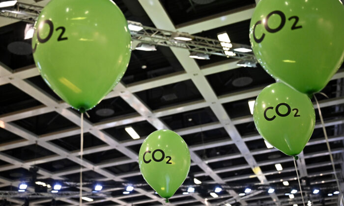 """Green ballons bearing the inscription """"CO2"""" are fluttering in a hall during the opening day of the Gruene Woche (Green Week) international agriculture fair in Berlin on Jan. 17, 2020.  Tobias Schwarz/AFP via Getty Images"""