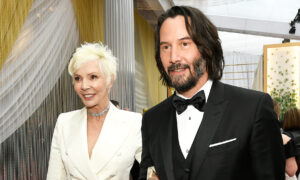 Keanu Reeves and Mom Patricia Taylor, Sparkling in White, Walk Red Carpet at 2020 Oscars