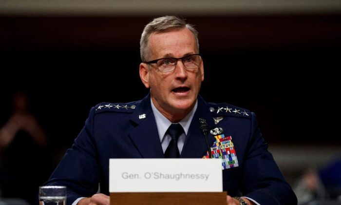 Air Force Gen. Terrence O'Shaughnessy testifies during a Senate Armed Services Committee hearing on Capitol Hill in Washington on April 17, 2018. (The Canadian Press/AP, Carolyn Kaster)