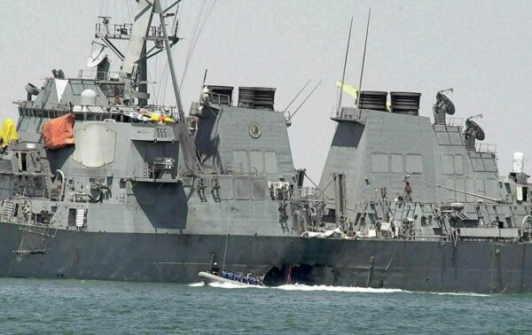 damaged hull of the USS Cole