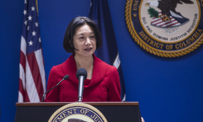Then-U.S. Attorney for the District of Columbia Jessie Liu speaks during a news conference at the U.S. Attorney's Office for the District of Columbia in Washington on Oct. 15, 2018. (Zach Gibson/Getty Images)