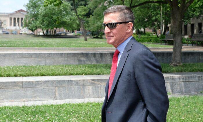 President Donald Trump's former National Security Adviser Michael Flynn leaves the E. Barrett Prettyman U.S. Courthouse in Washington on June 24, 2019. (Alex Wroblewski/Getty Images)