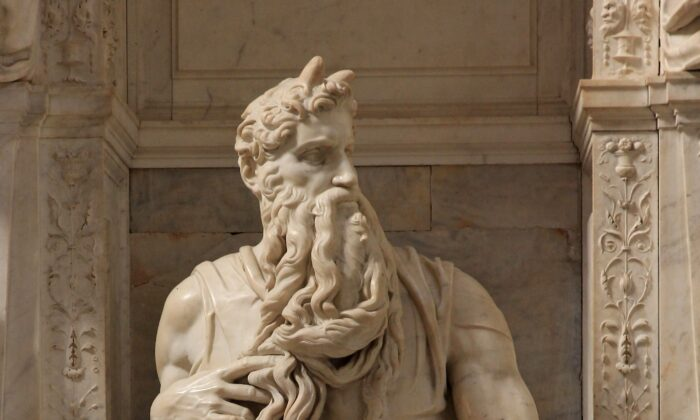 """Moses could see the unseeable. """"Moses"""" by Michelangelo in the church of San Pietro in Vincoli in Rome. (The horns on Moses's head are attributed to the Latin translation of the Bible at the time of the statue's creation.) (Jorg Bittner Unna CC BY 3.0)"""