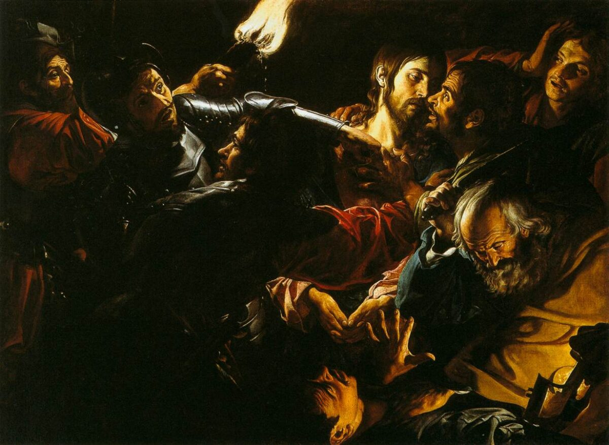 """""""Taking of Christ With the Malchus Episode"""" circa 1620 by Gérard Douffet"""