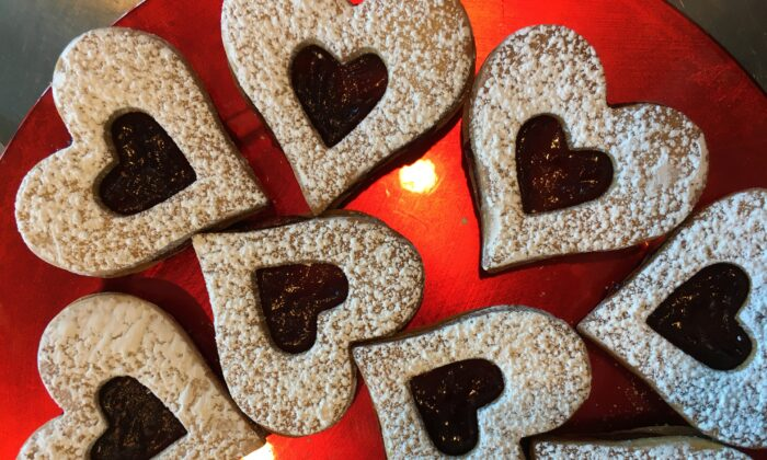 Valentine butter cookies with raspberry jam. (Christina Ferrari)