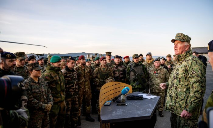 U.S. Admiral James G Foggo (R), Commander of the NATO Trident Juncture exercise speaks during a ceremony to mark the end of NATO exercise Trident Juncture at the Vaernes airport in Stjoerdal, Norway, on Nov. 7, 2018. (Ole Martin Wold / AFP via Getty Images)