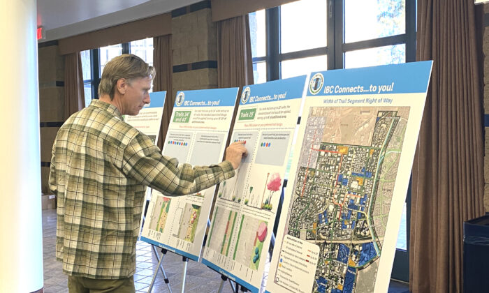 Irvine residents gave feedback to city planners about an upcoming development project in the Irvine Business Complex (IBC) at City Hall on Feb. 13, 2020. (Jamie Joseph/The Epoch Times)