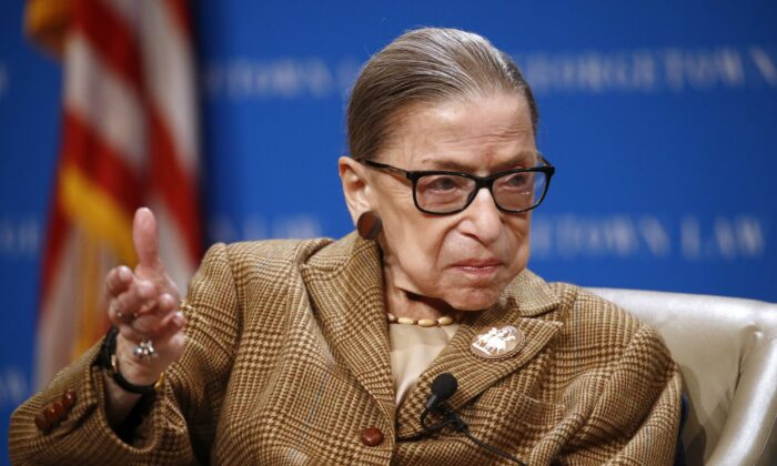 U.S. Supreme Court Associate Justice Ruth Bader Ginsburg speaks during a discussion on the 100th anniversary of the ratification of the 19th Amendment at Georgetown University Law Center in Washington on Feb. 10, 2020. (Patrick Semansky/AP Photo)
