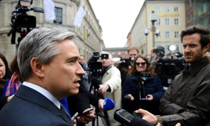 Minister of Foreign Affairs Francois-Philippe Champagne speaks to reporters at the Munich Security Conference in Munich, Germany, on Feb. 14, 2020. (Sean Kilpatrick/Canada press)