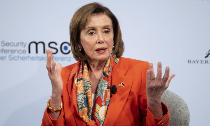 Nancy Pelosi, Speaker of the US House of Representatives, speaks on the first day of the 56th Munich Security Conference in Munich, Germany, on Feb.14, 2020.  (Sven Hoppe/dpa via AP)