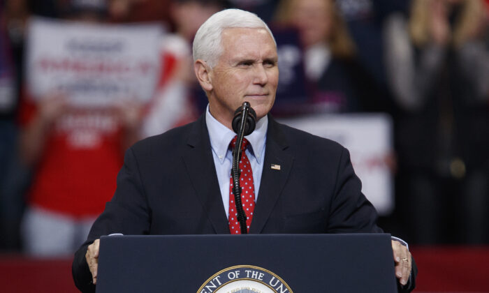 Vice President Mike Pence speaks during a campaign rally inside of the Knapp Center arena at Drake University in Des Moines, Iowa on Jan. 30, 2020. (Tom Brenner/Getty Images)