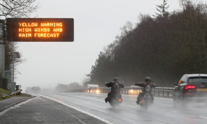 A traffic warning sign is seen on the A9 near Dunblane, Scotland, Britain on Feb. 15, 2020. (Russell Cheyne/Reuters)