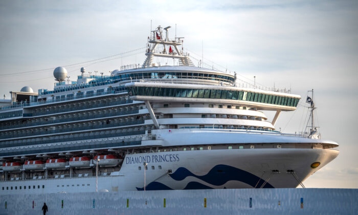The Diamond Princess cruise ship sits docked at Daikoku Pier in quarantine in Yokohama, Japan on Feb. 7, 2020. (Carl Court/Getty Images)