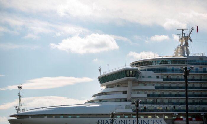 The Diamond Princess cruise ship is anchored at the Daikaku Pier Cruise Terminal in Yokohama on Feb. 12, 2020. (Behrouz Mehri/AFP via Getty Images)
