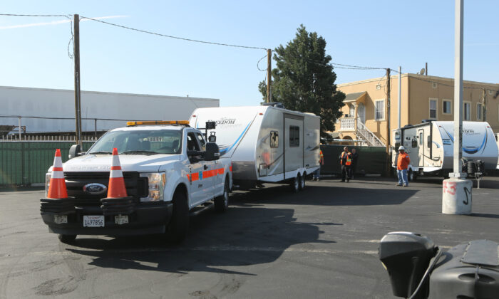 Trailers for the homeless are set up in south Los Angeles on Feb. 13, 2020. (Courtesy of Gov. Gavin Newsom's Office)