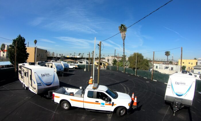 Trailers are set up in south Los Angeles for homeless families to move into, on Feb. 13, 2020. (Courtesy of Governor Gavin Newsom's Office)