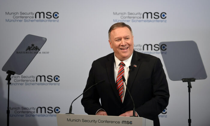 U.S. Secretary of State Mike Pompeo speaks at the annual Munich Security Conference in Germany on Feb. 15, 2020. (Andreas Gebert, Reuters)