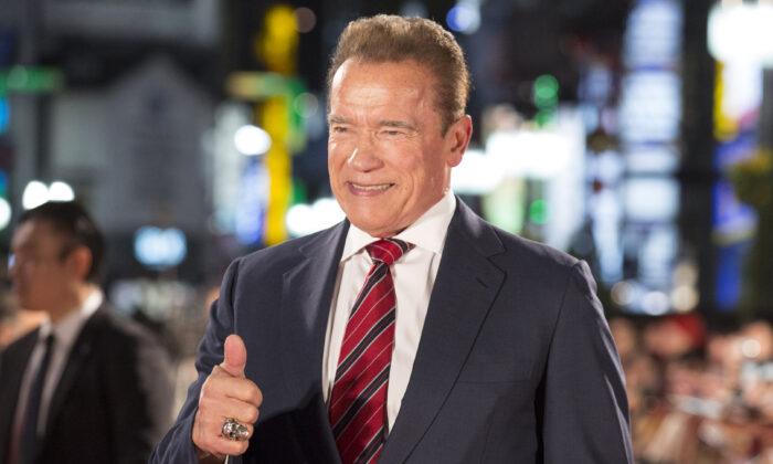 Arnold Schwarzenegger attends the Japan premiere of 'Terminator: Dark Fate' at Shinjuku Kabuki-cho Godzilla Road in Tokyo, Japan on Nov. 06, 2019. (Yuichi Yamazaki/Getty Images)