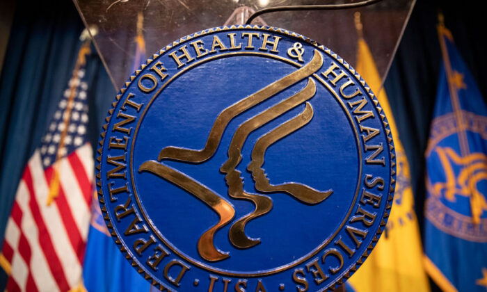 The Department of Health and Human Services logo in Washington on Jan. 28, 2020. (Samuel Corum/Getty Images)