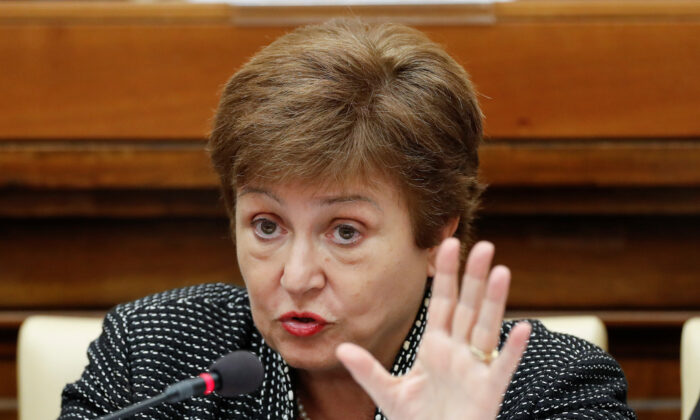 IMF Managing Director Kristalina Georgieva speaks at a conference at the Vatican on Feb. 5, 2020. (Reuters/Remo Casilli)