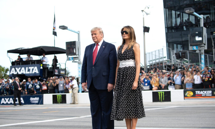 President Donald Trump and First Lady Melania Trump attend the Daytona 500 NASCAR race at Daytona International Speedway in Daytona Beach, Fla., on Feb. 16, 2020. (Saul Loeb/AFP via Getty Images)