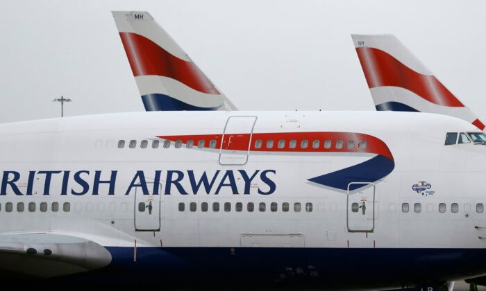 British Airways planes are parked at Heathrow Airport in London on Jan. 10, 2017.  (Frank Augstein/AP Photo/ File)