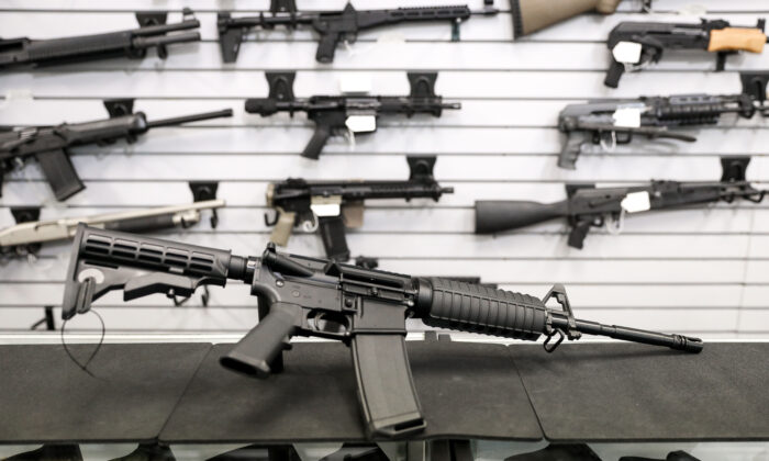 An AR-15 semi-automatic rifle at a gun shop in Richmond, Va., on Jan. 13, 2020. (Samira Bouaou/The Epoch Times)