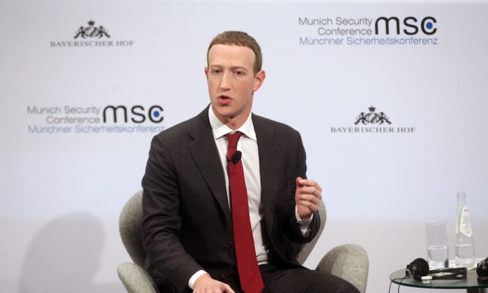 Facebook founder and CEO Mark Zuckerberg speaks during a panel talk at the 2020 Munich Security Conference in Munich, Germany, on Feb. 15, 2020. (Johannes Simon/Getty Images)