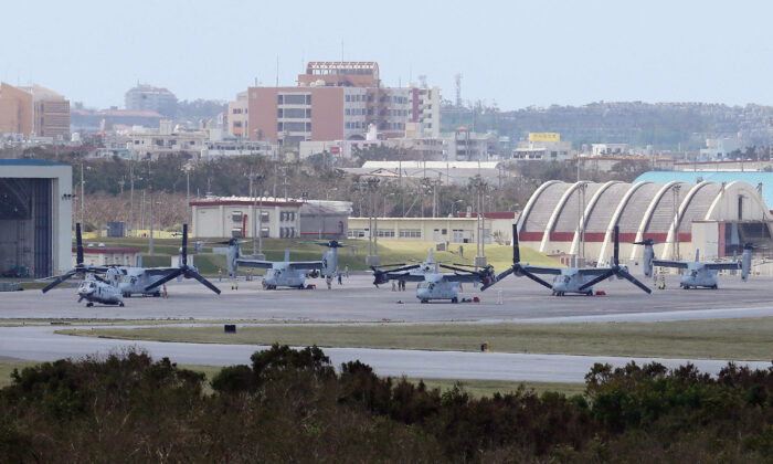 Futenma Air Station in Ginowan City, Okinawa, Japan on Oct. 1, 2012. The relocation of the air station has been complicated by a drawn-out environmental approval process. (JIJI PRESS/AFP/GettyImages)