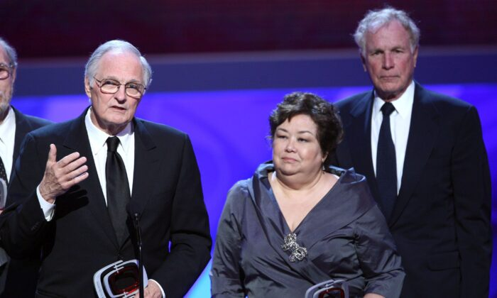 Actor Alan Alda, Actress Kellye Nakahara Wallet and Actor Wayne Rogers onstage at the 7th Annual TV Land Awards held at Gibson Amphitheatre on April 19, 2009 in Unversal City, California. (Alberto E. Rodriguez/Getty Images)