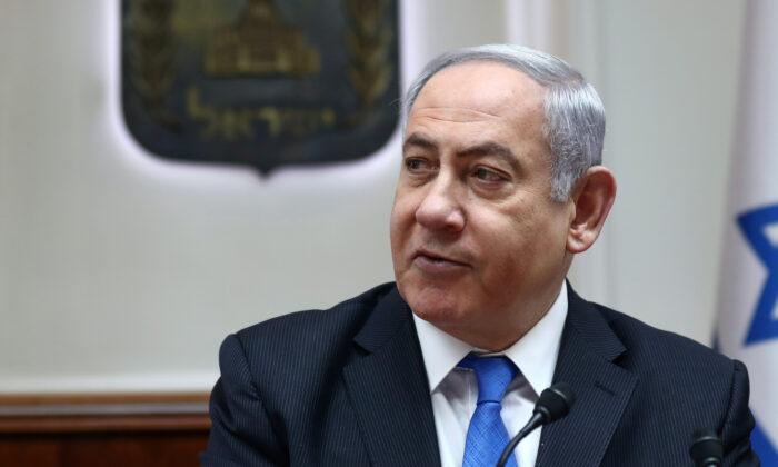 Israeli Prime Minister Benjamin Netanyahu chairs the weekly cabinet meeting in Jerusalem on Feb. 16, 2020. (Gali Tibbon/Pool via Reuters)