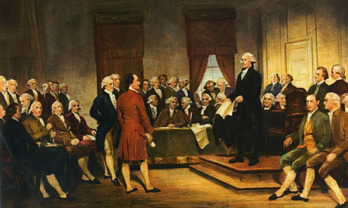 "The 1856 painting ""Washington at Constitutional Convention of 1787, signing of U.S. Constitution"" by Junius Brutus Stearns. (TeachingAmericanHistory.org via Wikimedia Commons)"