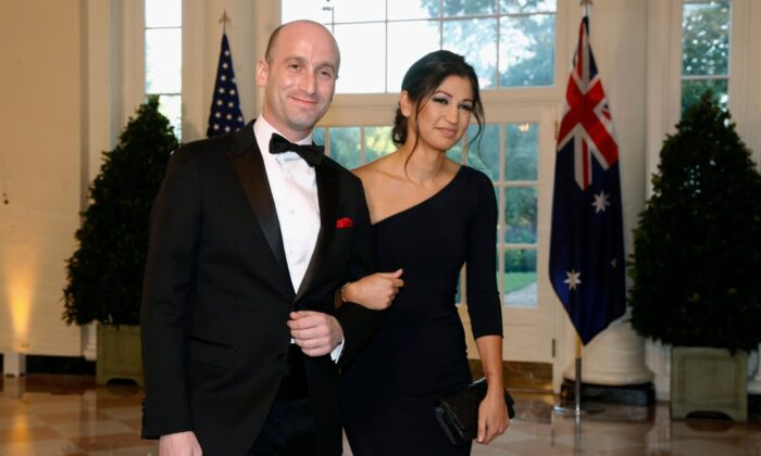 President Donald Trump's White House senior adviser Stephen Miller (L) and Katie Waldman, press secretary for Vice President Mike Pence, arrive for a state dinner with Australian Prime Minister and Trump at the White House in Washington on Sept. 20, 2019. (Patrick Semansky/AP Photo/ File)