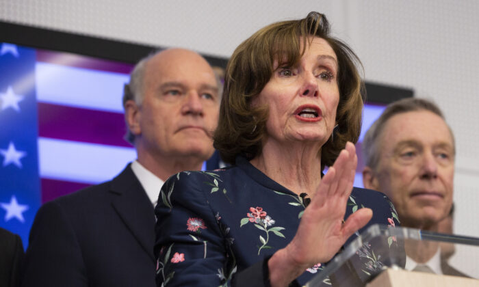 Speaker of the House Nancy Pelosi, D-Calif, center, speaks during a media conference after a meeting at NATO headquarters in Brussels, on Feb. 17, 2020. Speaker of the House Nancy Pelosi is on a one day visit to Brussels to meet with leaders of the EU and NATO. (Virginia Mayo/AP)